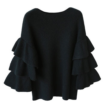 'Madeleine' Black Layered Sleeved Draped Sweater
