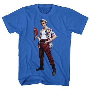 Ace Ventura T-Shirt Pet Detective Pose With Macaw Royal Tee