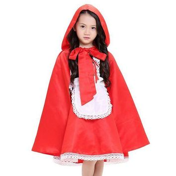 PEAPON new arrival children girl Little Red Riding Hood cosplay dress princess halloween costume DS clothing