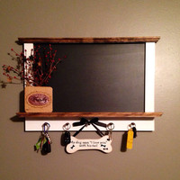 Framed Kitchen Chalkboard with Shelf and Key Hanger Holder, Kitchen Blackboard, Message Board