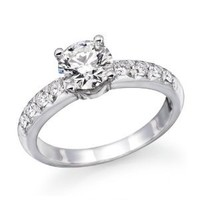 1.10 cttw IGI Certified Diamond Engagement Ring in 14K White Gold (1.10 cttw, J-K Color, I1-I2 Clarity)