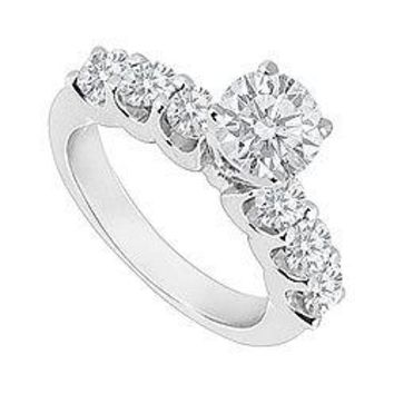 14K White Gold Semi Mount Engagement Ring with 0.30 Carat Diamonds Not Included Center Diamond