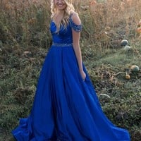 Off Shoulder Beaded Strap Prom Ball Gown Prom Dress