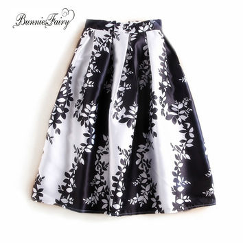 Floral Print Pleated Skirt for Office Lady OL Work Wear