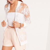 Missguided - Embroidered Mesh Bomber Jacket Cream