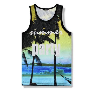 9def3d010aed9 Hawaii Floarl Tank Top 3D Printed Summer Sleeveless Men s Shirt