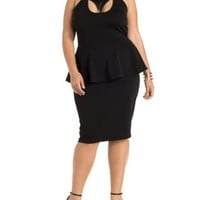 Plus Size Black Faux Leather Cut-Out Peplum Dress by Charlotte Russe