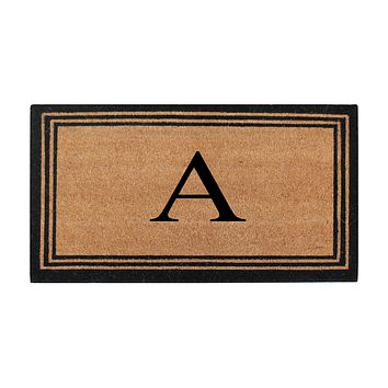 A1HC Pure Natural Coir Doormat with Heavy Duty PVC Backing,0.75 Inch Pile Height, Natural Color,Perfect for Outdoor Use Under Covered Areas, Monogrammed Doormat