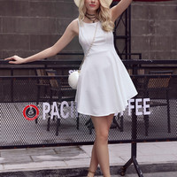White Backless Mini Dress B007740