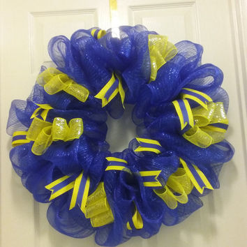Two Color Deco Mesh Wreath Blue and Yellow