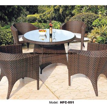 Small Round Outdoor Garden Table Chair Set Holiday Beach Swing Pool Garden Rattan Furniture 80CM Table Chairs Stool Combination