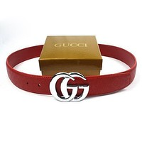 GUCCI Women Fashion Smooth Buckle Belt Leather Belt