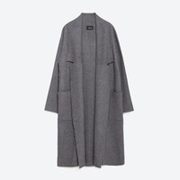 LONG COAT WITH DRAPED NECK