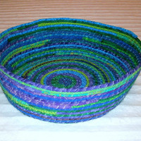 Cat Bed Blue Green Purple Coiled Fabric Basket