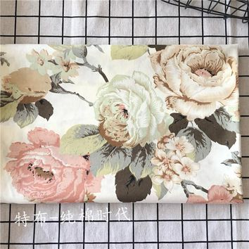 Beige bottom Big peony flower 100% cotton Cloth DIY Sewing PATCHWORK QUILTING Baby bedding toy Clothing adornment fabric
