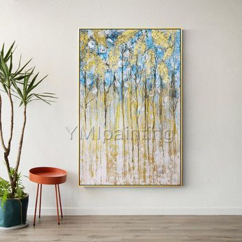 Gold art blue tree abstract acrylic paintings on canvas original art extra large Wall Art home decor wall Pictures decor cuadro abstracto
