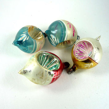 Vintage Teardrop Indented Christmas Ornaments Set of 4 Mercury Glass Blue Gold Silver Red Pink White