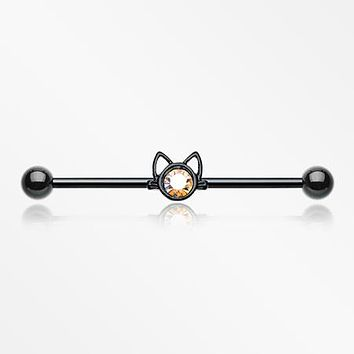 Blackline Adorable Kitty Cat Face Sparkle Industrial Barbell