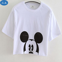 Sea-mao Summer Harajuku Sale White Cartoon Mickey Print Cute Girls Crop Tops Summer T-shirts for Women Tees Free Shipping F902