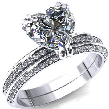 Nancy Heart Moissanite 3 Double Prong 1/2 Eternity Diamond Knife Shank Accent Engagement Ring