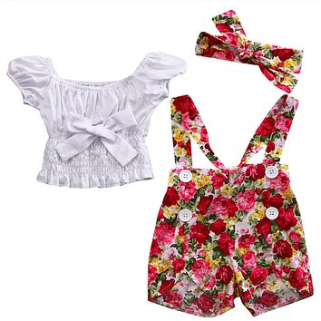 Baby Girl Clothes Set Hot Baby Girls Off Shoulder Bow Tie Tops T-shirt Floral Suspender Short Pants