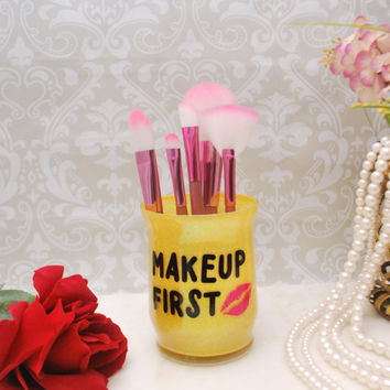 Makeup First, Desktop Organizer, Makeup Brush Holder, Desk Organizer, Desk Accessory, Makeup Brush Storage, Pen Holder, Personal Organizers