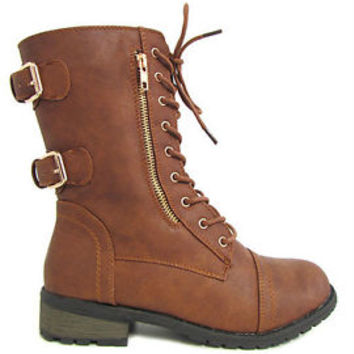 New Womens Tan Zipper Low Heel Combat Military Lace Up Mid Calf Boots Sz 6-10