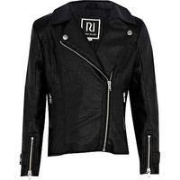 Girls black leather look biker jacket