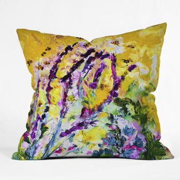 Ginette Fine Art Lavender and Bees Provence Throw Pillow