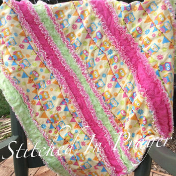Silly Owls Baby Rag Quilt, Baby Blanket, Baby Girl Quilt, Stitched In Prayer