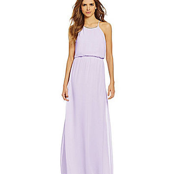 Gianni Bini Barbara Metal-Trimmed Neck Chiffon Maxi Dress - Lavender