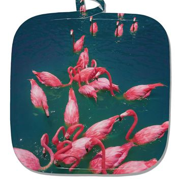 Bright Pink Painted Flamingos White Fabric Pot Holder Hot Pad All Over Print