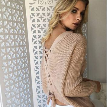 Sexy Backless Cross Knot Sweater