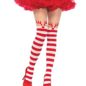 Red & White Stripe Rudolph Reindeer Opaque Pantyhose