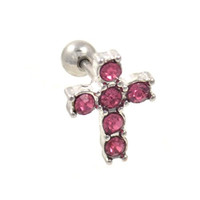 6-Gem Pink CZ Cross Ear Piercing Stud Jewelry Cartilage/Tragus Barbell - 16G 1/4""