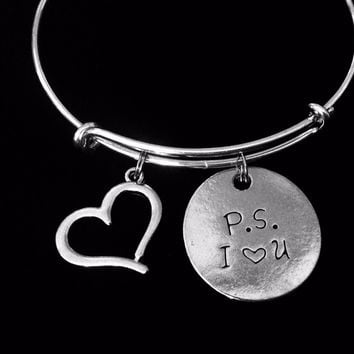 PS I Love You Jewelry Adjustable Bracelet Silver Expandable Charm Wire Bangle Bracelet Stacking Trendy Gift