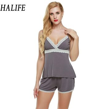 HALIFE Summer Pyjamas Women Nightwear Shorts Set V-Neck Sleepwear Pajama Spaghetti Strap Lace Pajamas Set 2017 Pyjama 610