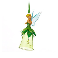 Disney Parks Tinker Bell Signature Glass Bell Christmas Ornament New With Tags