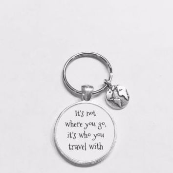 Best Friend It's Not Where You Go Long Distance Earth Planet Globe Gift Keychain