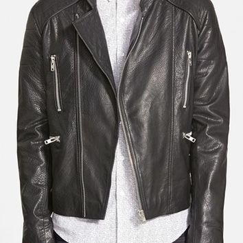 Men's Topman Black Leather Collarless Biker Jacket ,