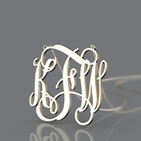 Plated in gold monogram jewelry --1.5 inch initial name pendant monogram necklace customized