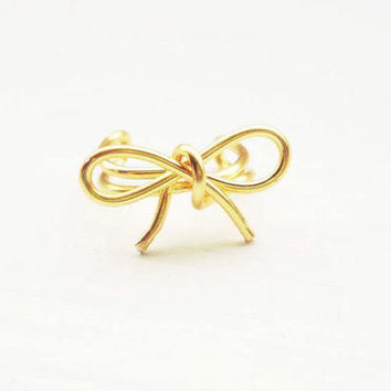 Ear Cuff Gold Bow Dainty Ear Wrap Earcuff by MaggieMadeWithLove
