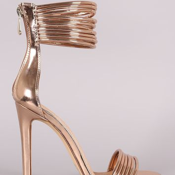 Liliana Patent Open Toe Strappy Ankle Cuff Stiletto Heel
