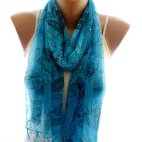 Lace scarf, blue lace scarf,scarves for women, soft scarf, cozy scarf, trendy scarf