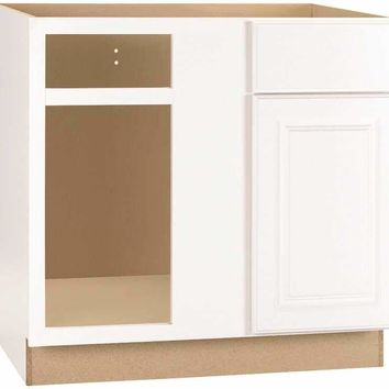 Rsi Home Products Hamilton Blind Corner Base Cabinet, Fully Assembled, Raised Panel, White, 36x34-1-2x24 In.