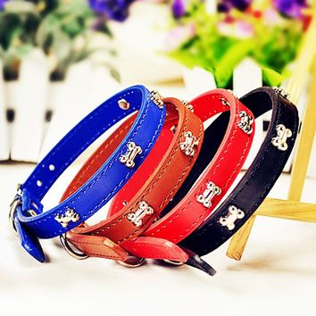 2016 New Pu Leather Dog Collar For Puppy Dog With Bling Bone Stud New Design Pet Cat Necklace for Teddy Size S M L 5 Colors Hot
