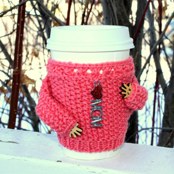 Coffee cup sweater. Love mom charm Mother's day mug hug. Coffee cozy. Knit cup sleeve Coral wool Starbucks cup sleeve. Strawberry ice color