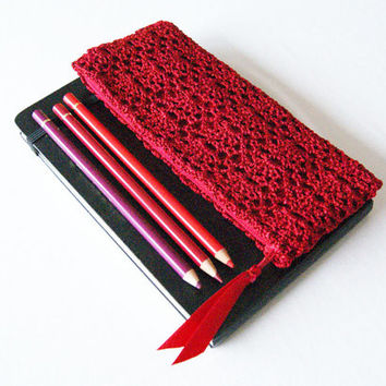 Scarlet Red Crochet Pencil Case