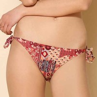 UO Mixed-Print Side-Tie Bikini Bottom- Red Multi L