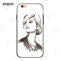 Stylish Lady with Bun and Pearls Phone Case for iPhone 6 7 6Plus 5S SE